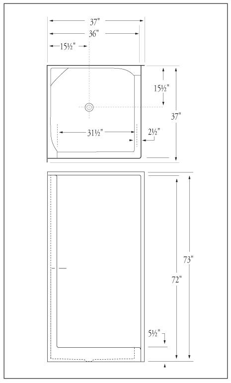 Florestone Model 36 Corner Fiberglass Shower Large View